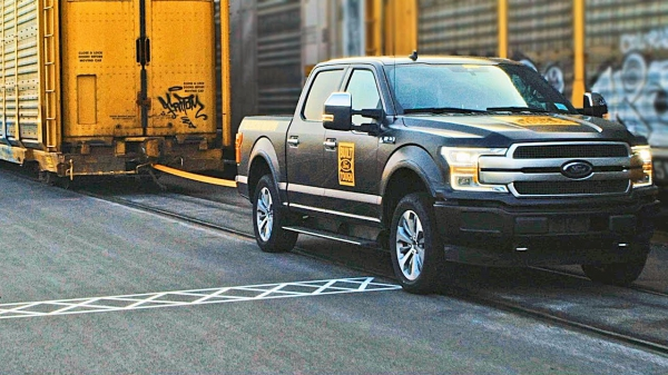 All-Electric 2021 FORD F150 Pulls a Train – Towing Capability Demonstration