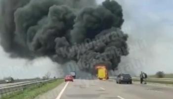 На трассе Киев-Одесса сгорел пассажирский автобус — «ДТП»